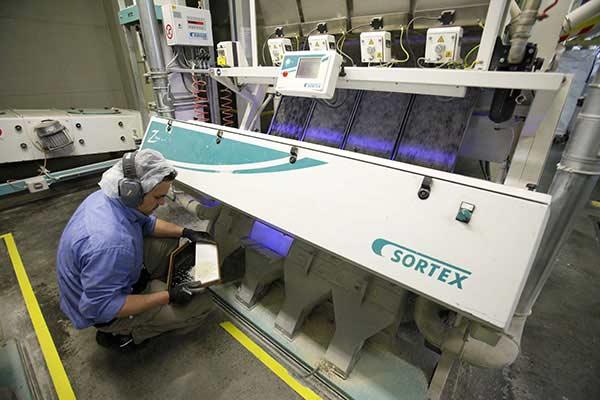 factory inside filter rice