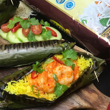 Grilled Yellow Basmati Rice & Prawns in Banana Leaves – Lovingly made by Lisa Wijoyo for Taj Foods' 2018 Mother's Day Rice Contest
